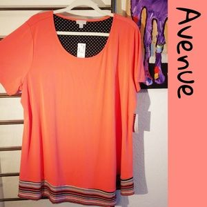 The Avenue NWT Coral top with banded stripes 🎉